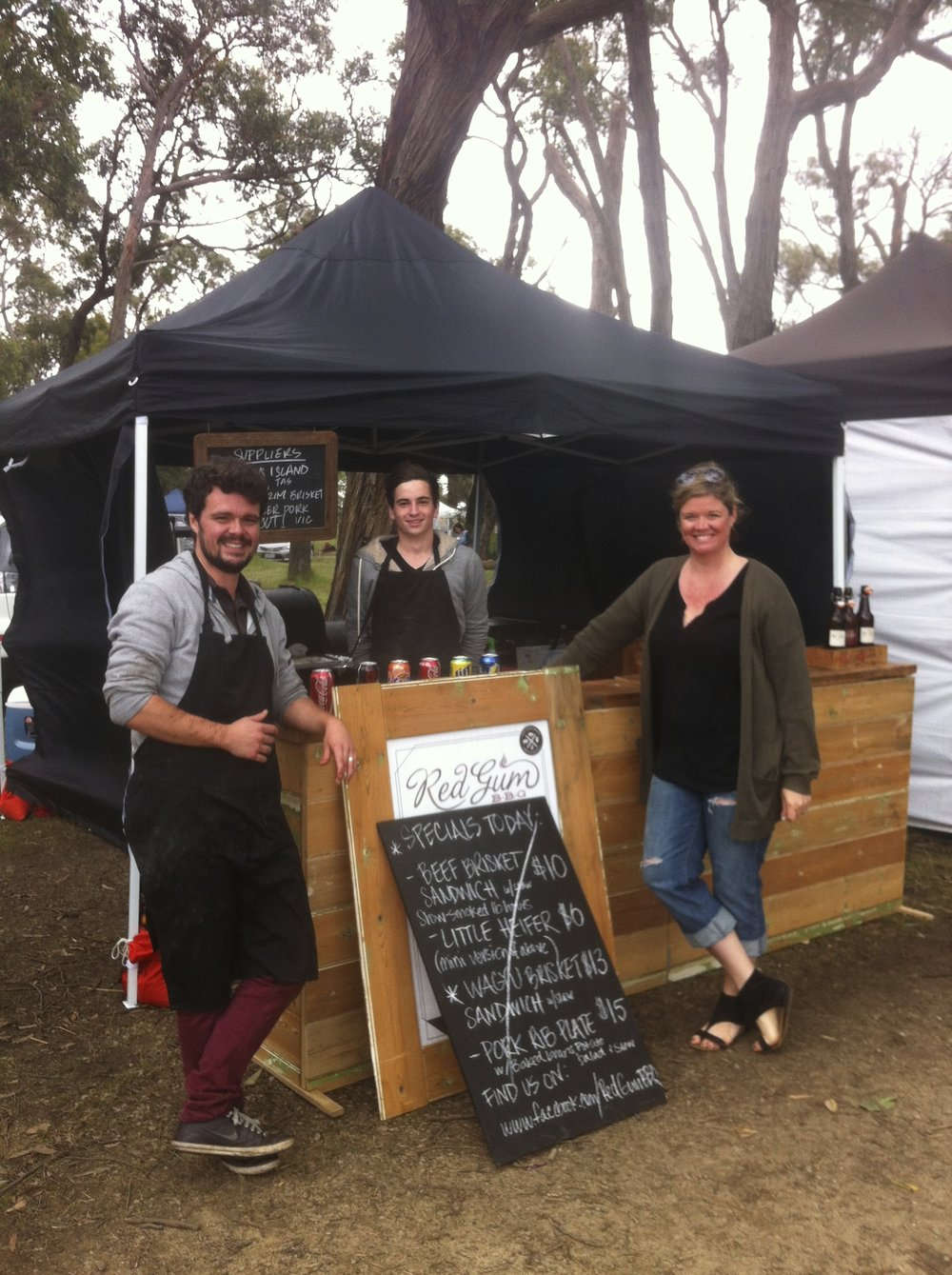 Our regular spot under the stringybarks at Emu Plains Market, 2013.