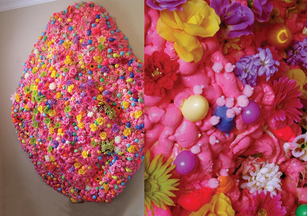 """Jelly Belly, found objects, acrylic paint, sprayfoam, 130""""x96""""x24"""""""