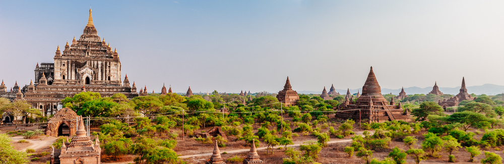 The view of Thatbinhyu Temple with the thousand other smaller pagodas, Bagan.