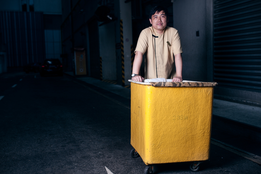 """""""I have worked here for almost twenty years now and I can say that happiness is all about having enough. If gotjob to do, got food to eat, got clothes to wear and a place to sleep .. that is enough for me and I will be happyenough."""" - Kok Kiong"""
