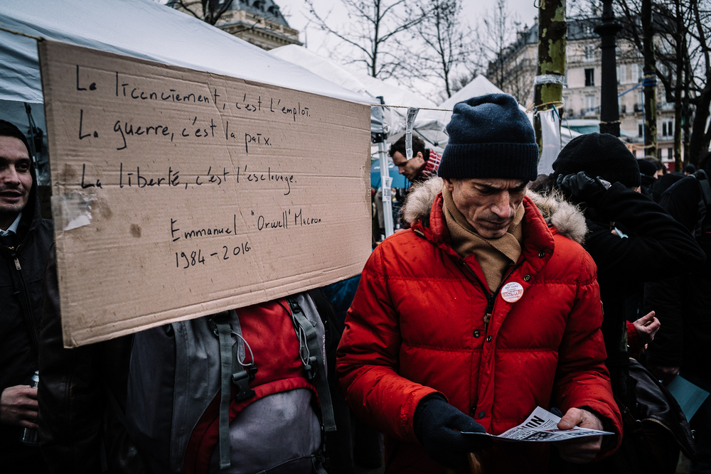 Protestors at Nuit Debout, 3rd April 2016.