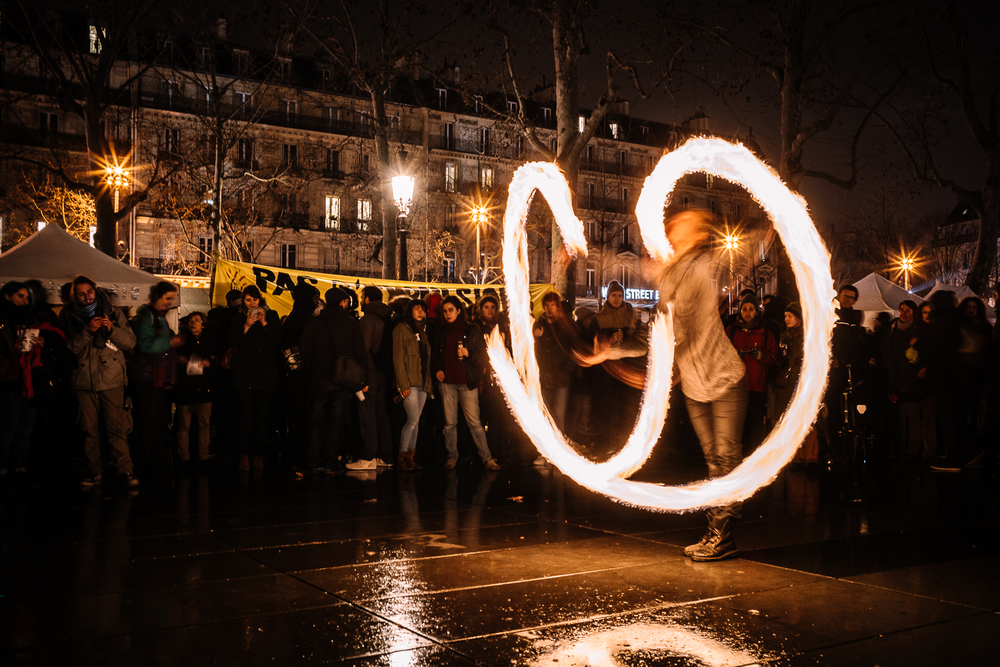 Fire street performers at Nuit Debout, 3rd April 2016.