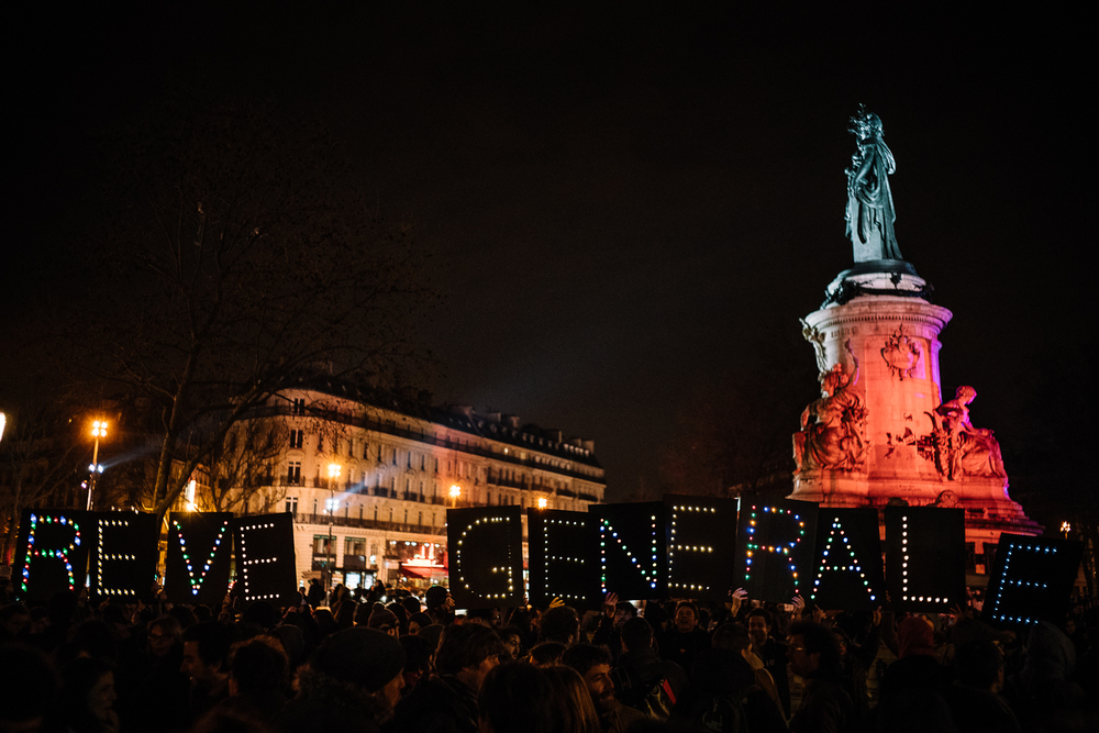 More than 10, 000 have attended the sit-in protests in Paris alone, 3rd April 2016.