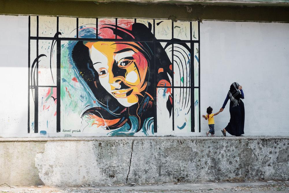 A mural painting by Esmaeel in Ritsona Camp.