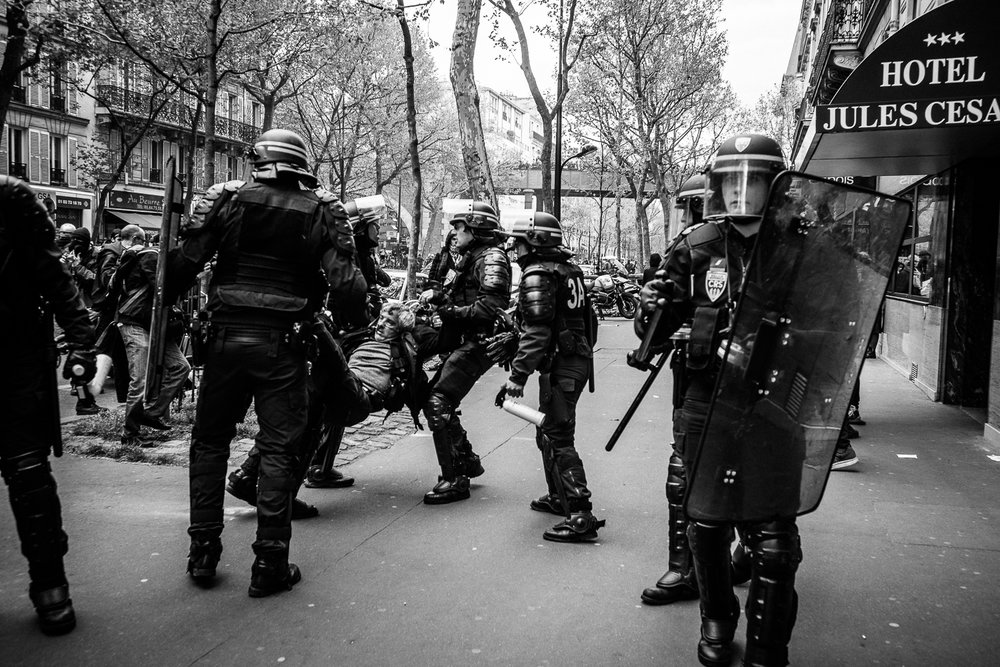 Loi Travail; Non Merci demonstrations on the streets of Paris. Paris, 2016