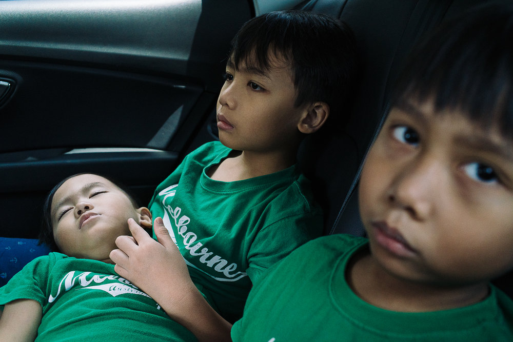 Before the pregnancy complication happened, Hidayah's three sons were excited to welcome their baby sister home and were looking forward to taking good care of her.  Ihsan (L), Ryan (M), and Adam (R) on their way to the hospital to visit Hana.