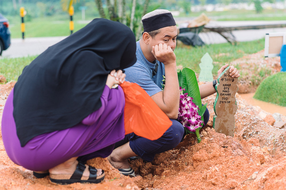 "Raihan, who had been sturdy throughout this difficult period, broke down when reciting this prayer:    ""Dear Allah, we accepted our fate and Hana's departure but the pain of this loss is just too great to bear."""