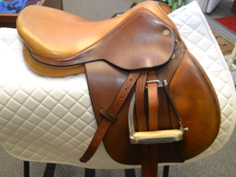 "Beval with stirrup irons and leathers  |  16""  
