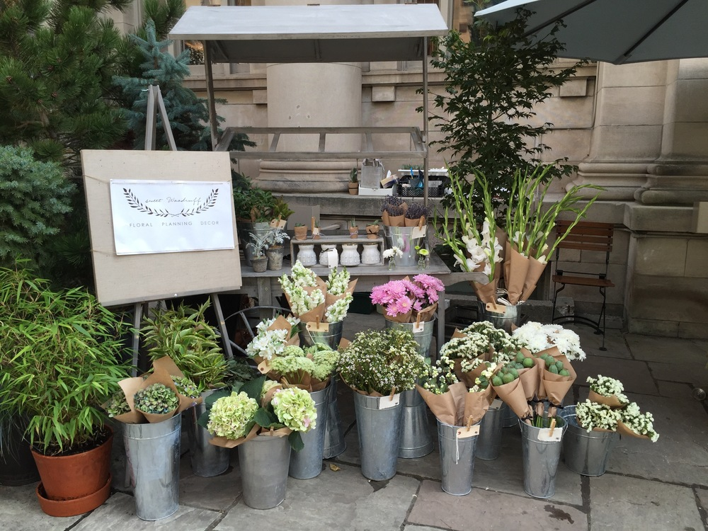 The Sweet Woodruff Flower Cart at the Club Monaco Market, Avenue and Bloor Street W, Toronto.