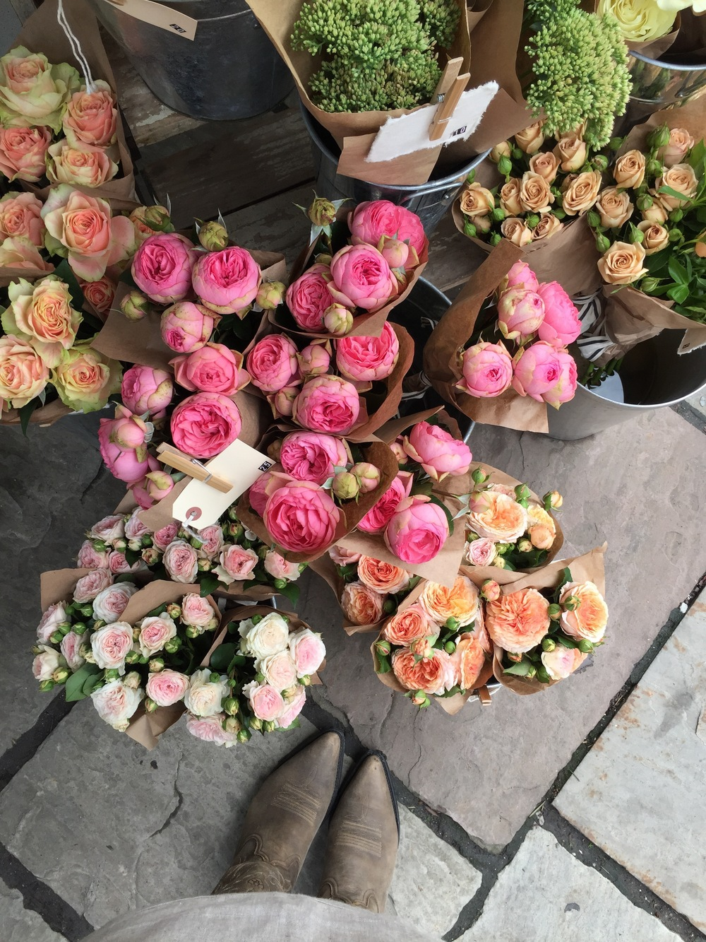Check out these locally grown garden roses at the Sweet Woodruff Flower Cart at the Club Monaco Market, Avenue and Bloor Street W, Toronto. They look pretty cute with my cowboy boots, don't you think?
