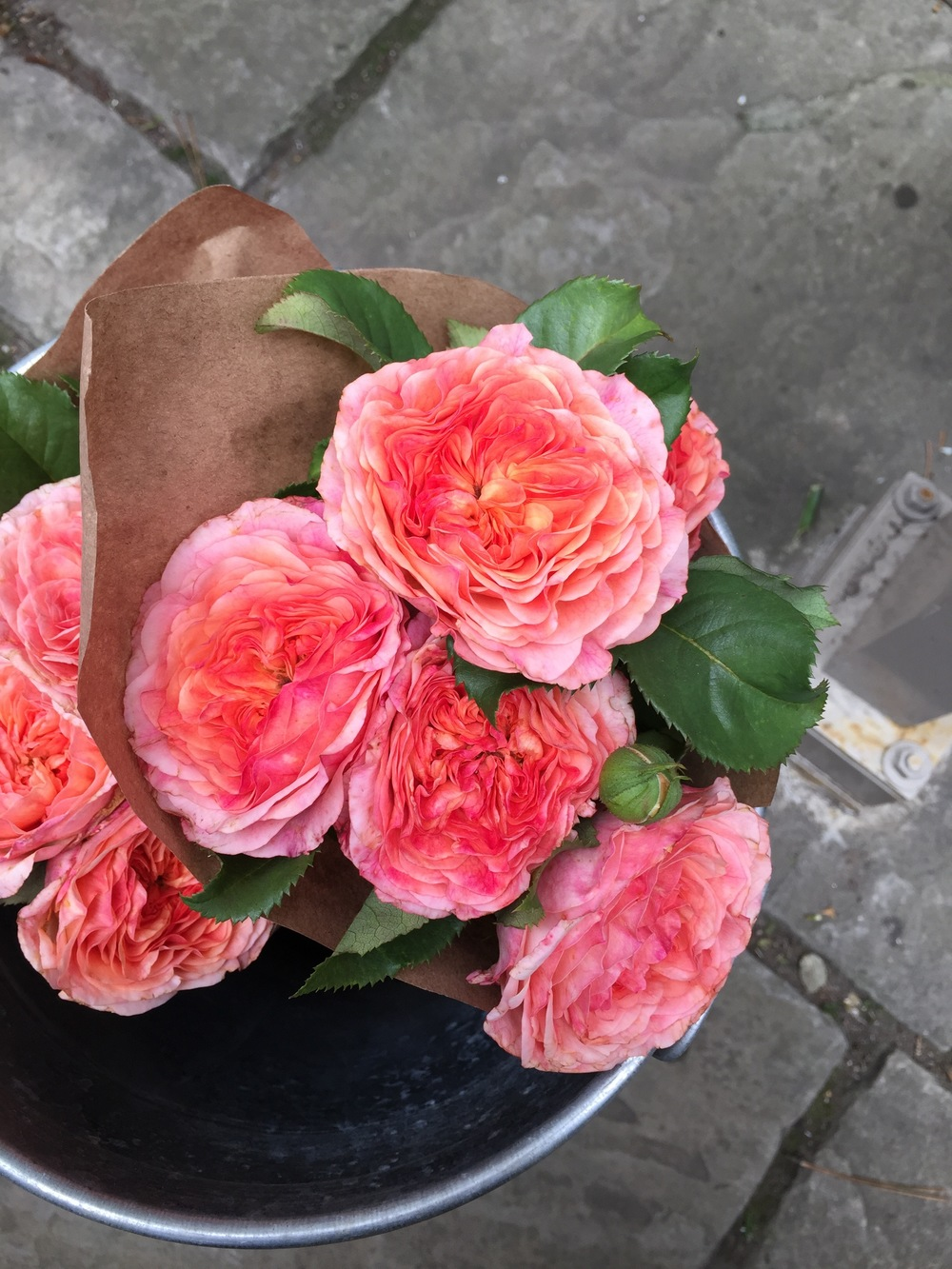 I wish you could smell these! Beautiful garden roses at the Sweet Woodruff Flower Cart at the Club Monaco Market, Avenue and Bloor Street W, Toronto.