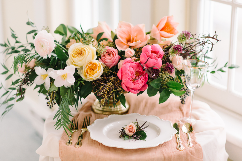 beautiful peach wedding floral arrangement | Quill+Oak Floral Design Toronto