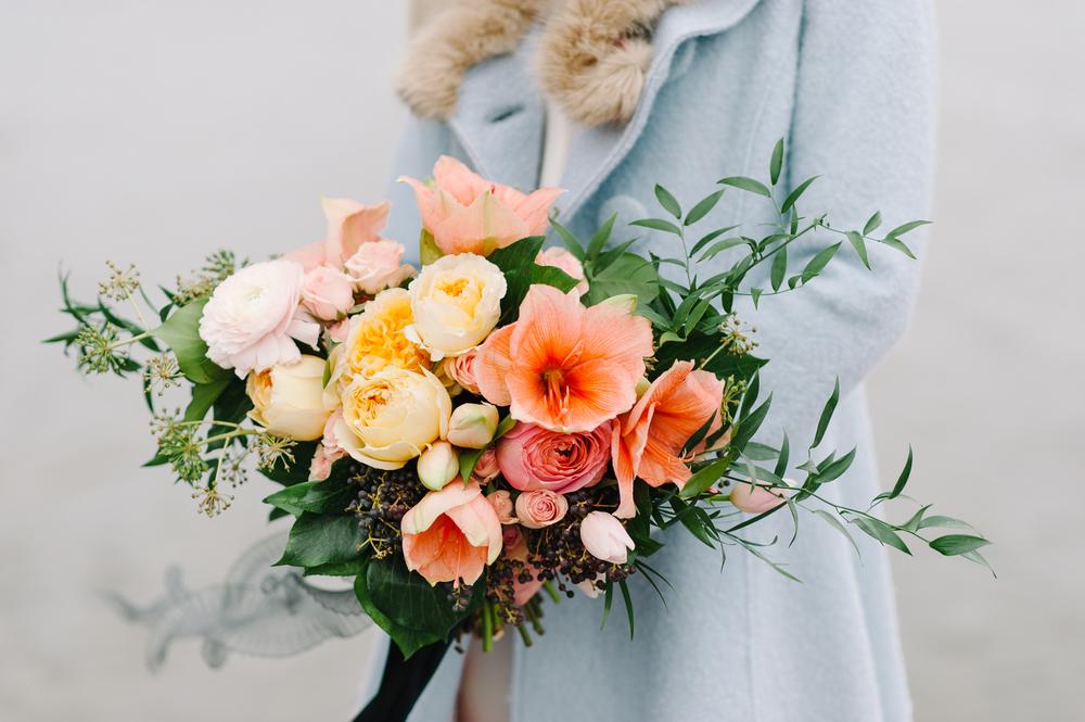 peach garden-style bridal bouquet | Quill+Oak Floral Design Toronto