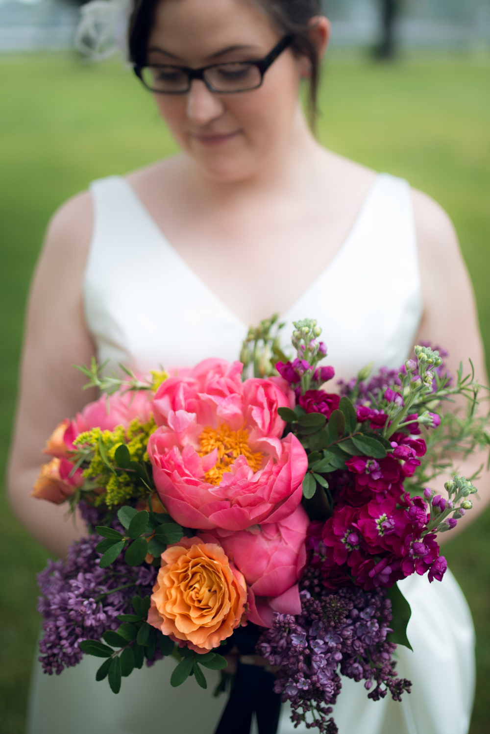 bright and bold bridal bouquet with coral charm peonies | Quill+Oak Floral Design Toronto