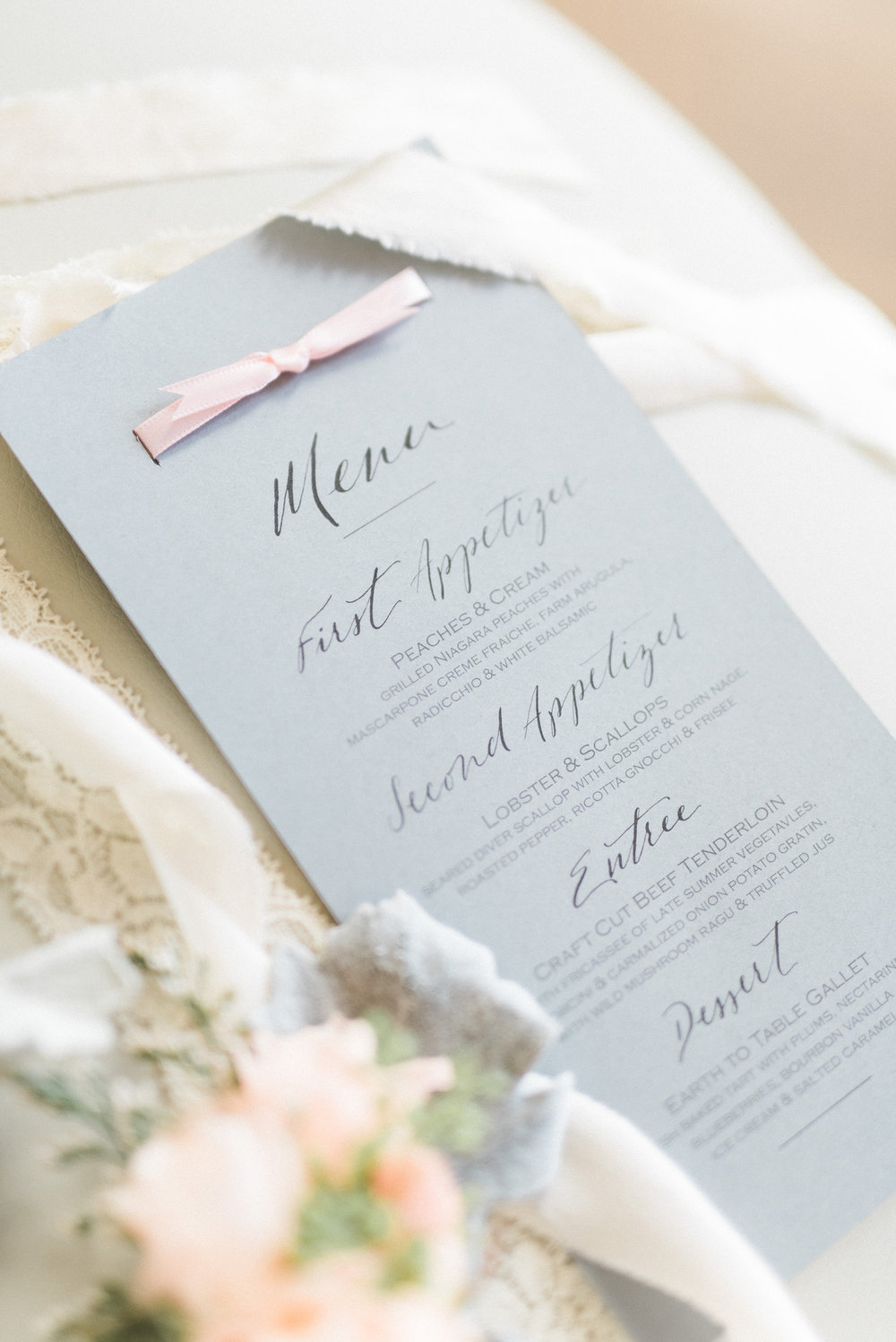 Elegant menu with calligraphy accent | Quill+Oak Calligraphy and Lettering Toronto