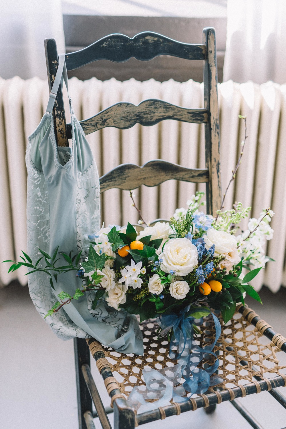 blue and white garden style bridal bouquet | Quill+Oak Floral Design Toronto