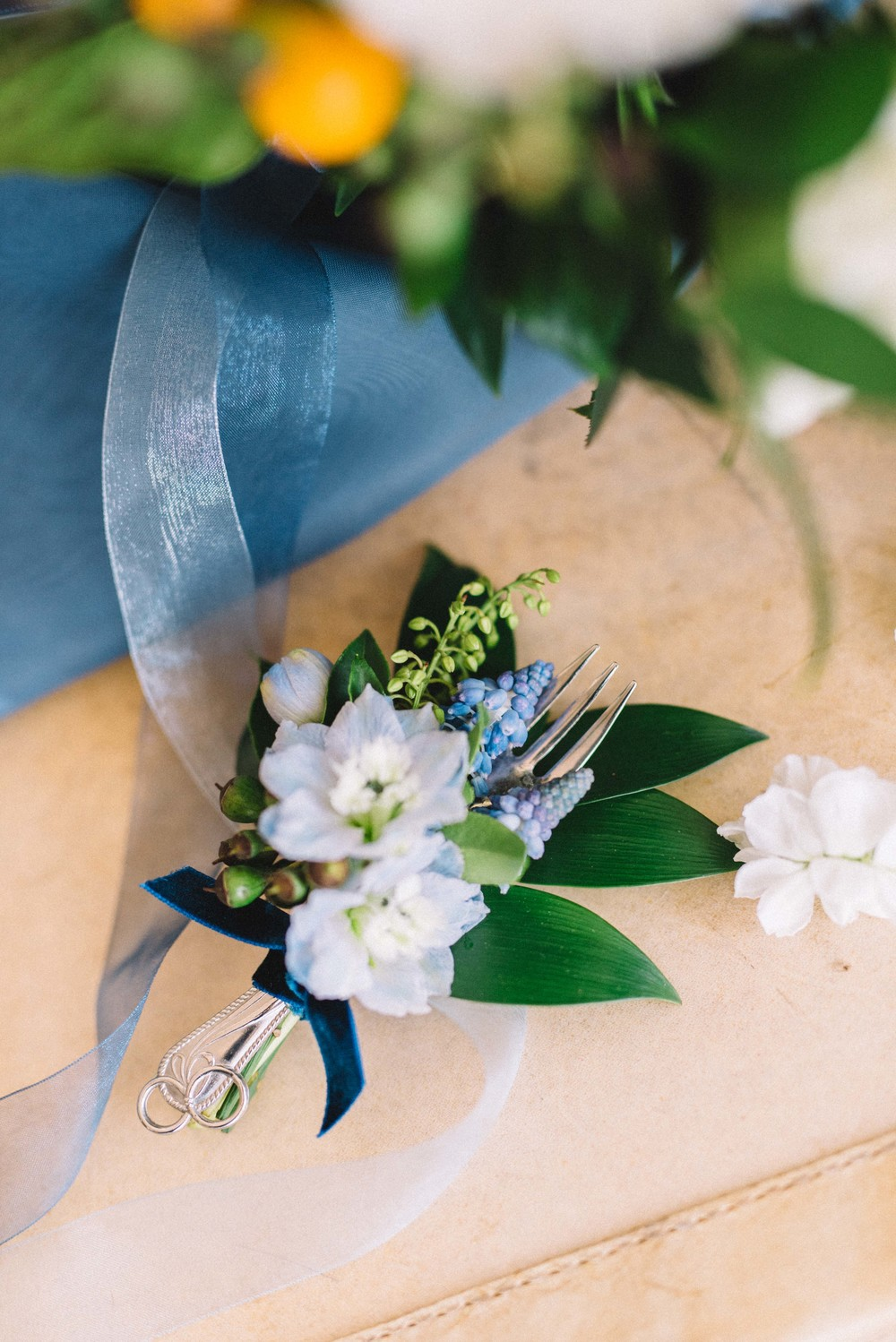rustic blue wedding boutonniere with fork | Quill+Oak Floral Design Toronto