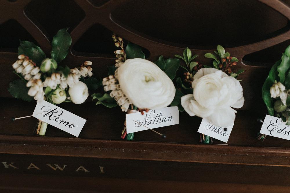 Early Autumn White Boutonnieres | Quill+Oak Floral Design Toronto, Hamilton, Niagara
