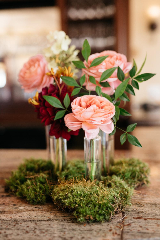 budvases and moss wedding centrepiece | Quill+Oak Floral Design Toronto, Hamilton, Niagara