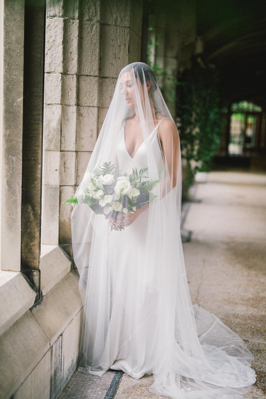 bridal bouquet under veil | Quill+Oak Floral Design Toronto, Hamilton, Niagara