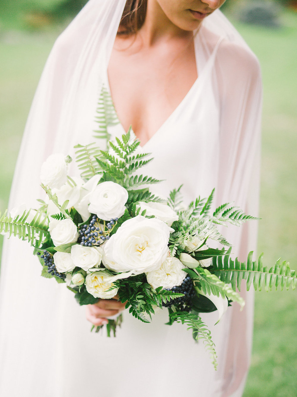 Fresh Whites with Lush Ferns Bridal Bouquet | Quill+Oak Floral Design Toronto, Hamilton, Niagara