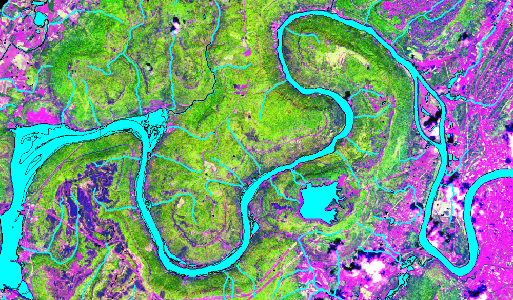 Satellite Imagery of the Tennessee River Gorge differentiating land cover types.