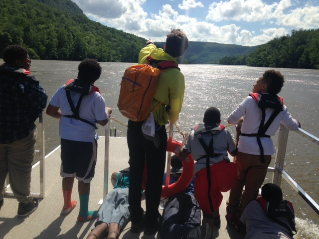 An educational ride in the Tennessee River Gorge on the Trust's pontoon boat, Gorgeous, takes students by Raccoon Mountain.
