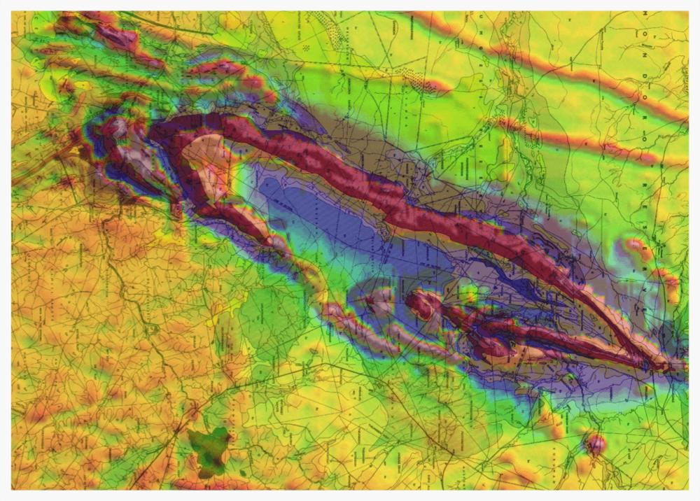 Regional aero-magnetics and geological interpretation of GreenStone Belt overlay.