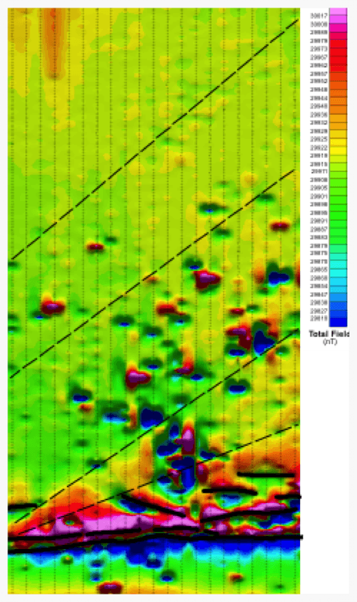 South Block total field with interpretation overlaid. The thick black lines represent dykes, or layers, whilst the interpreted structures are shown in dashed line. The small, spikey anomalies in the centre of the survey are caused by houses and sheds within a village.