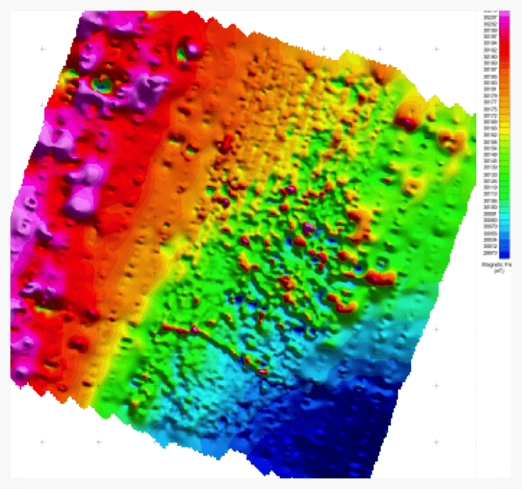 Ground magnetics data at 200m line spacing with the central area at 50m in-fill spacing