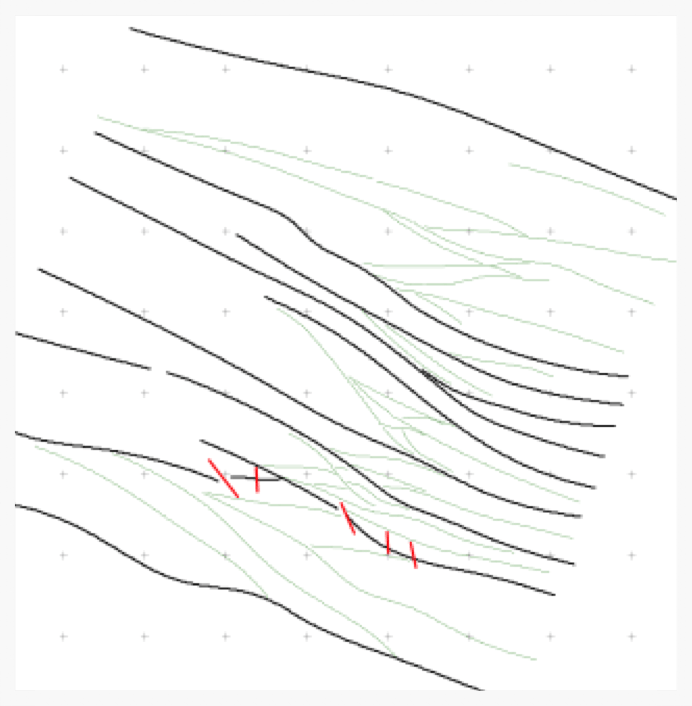 Structural interpretation with shears in black, splays in green and short brittle fractures in red.