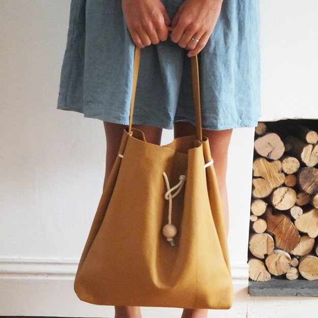 Large mustard drawstring bag, Rosie Drake-Knight