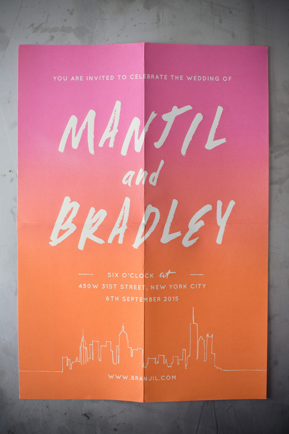 For the formal invitations Manjil and Brad requested a large screenprinted poster; this was so exciting to work on for us, we approached the design as if it was a gig / film poster and hopefully their loved ones will have them pinned up for years to come - a great example of breaking the norm!