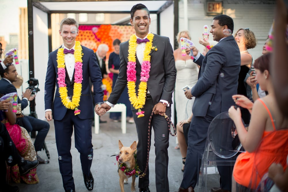 We loved working with this couple to create their NYC edgy, colourful collection. Photograph by Weddingbytwo