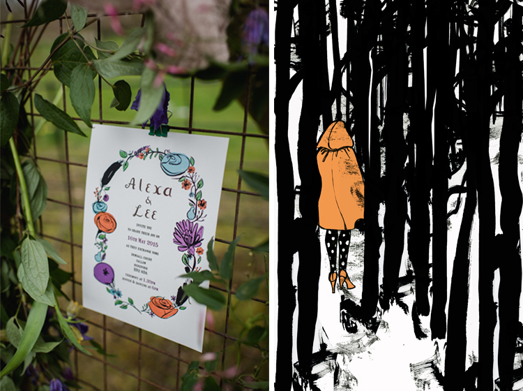 Left: Flora and Fauna wedding invitation, photograph by Alexa Loy Right: Woodlands by Abigail McKenzie