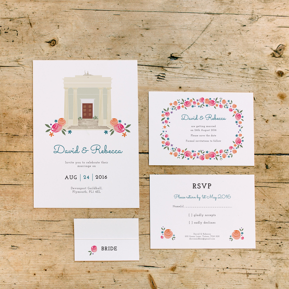 Introducing the Devonport Guildhall collection... We are happy to share this custom wedding stationery suite created especially for couples tying the knot at this historic, city centre wedding venue. The full collection includes Save the Dates, invitations, RSVPs and place settings.