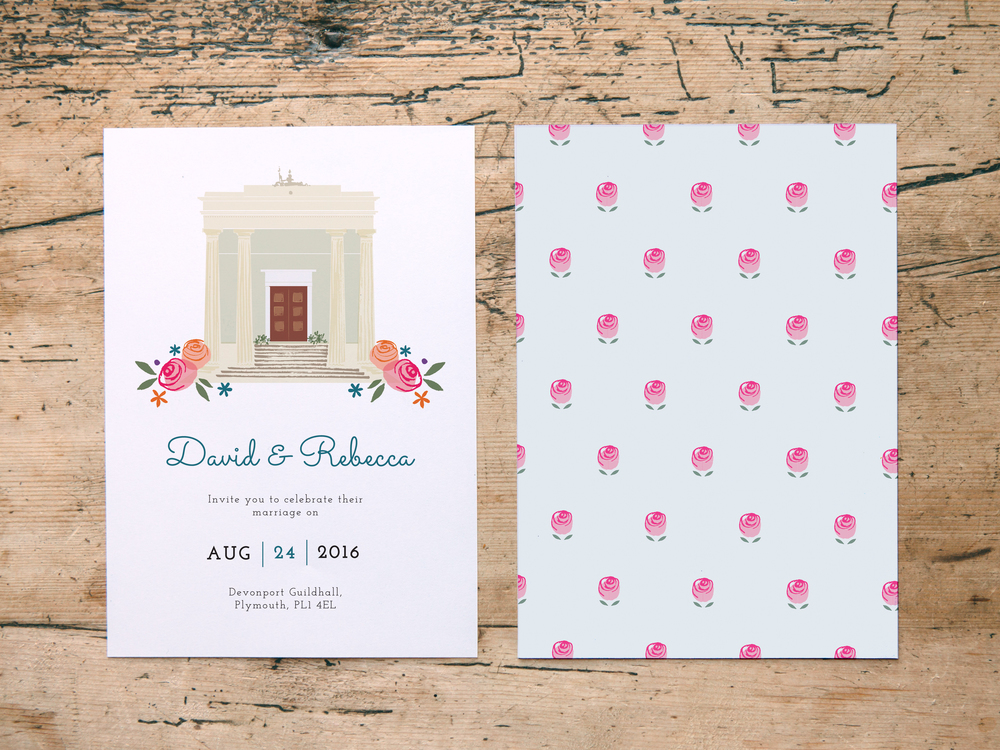 The invitation design features a delicate floral pattern on the reverse...