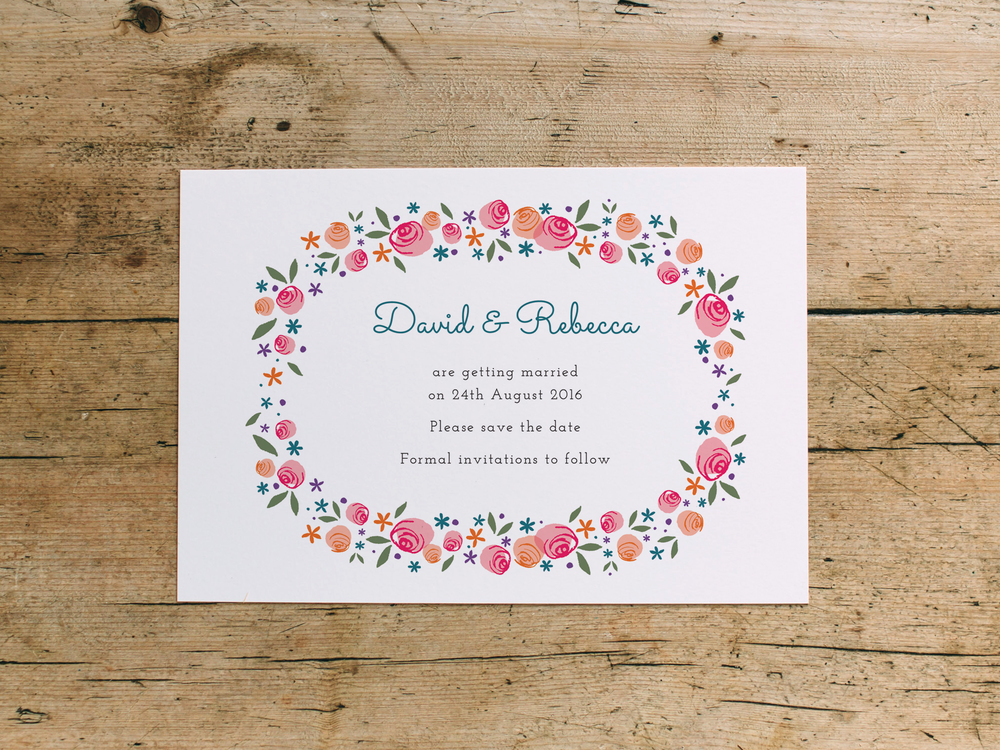 Devonport Guildhall postcard style Save the Date with floral illustrated wreath