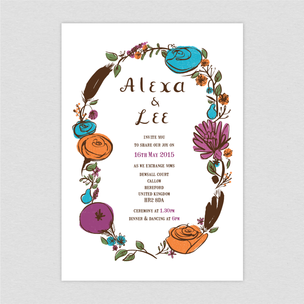 Dearly Beloved Flora and Fauna Wedding Invitation