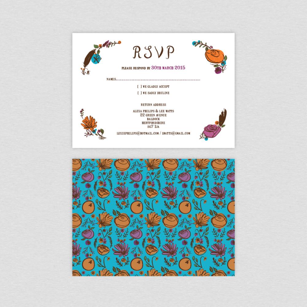Dearly Beloved Flora and Fauna Wedding RSVP card