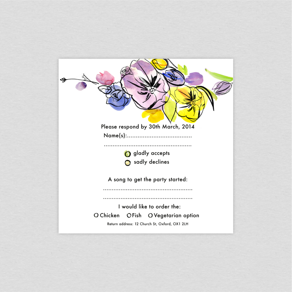 Dearly Beloved Spring Fete Wedding RSVP card