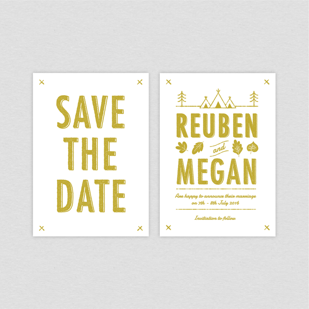 Dearly Beloved Summer Camp Save the Date card