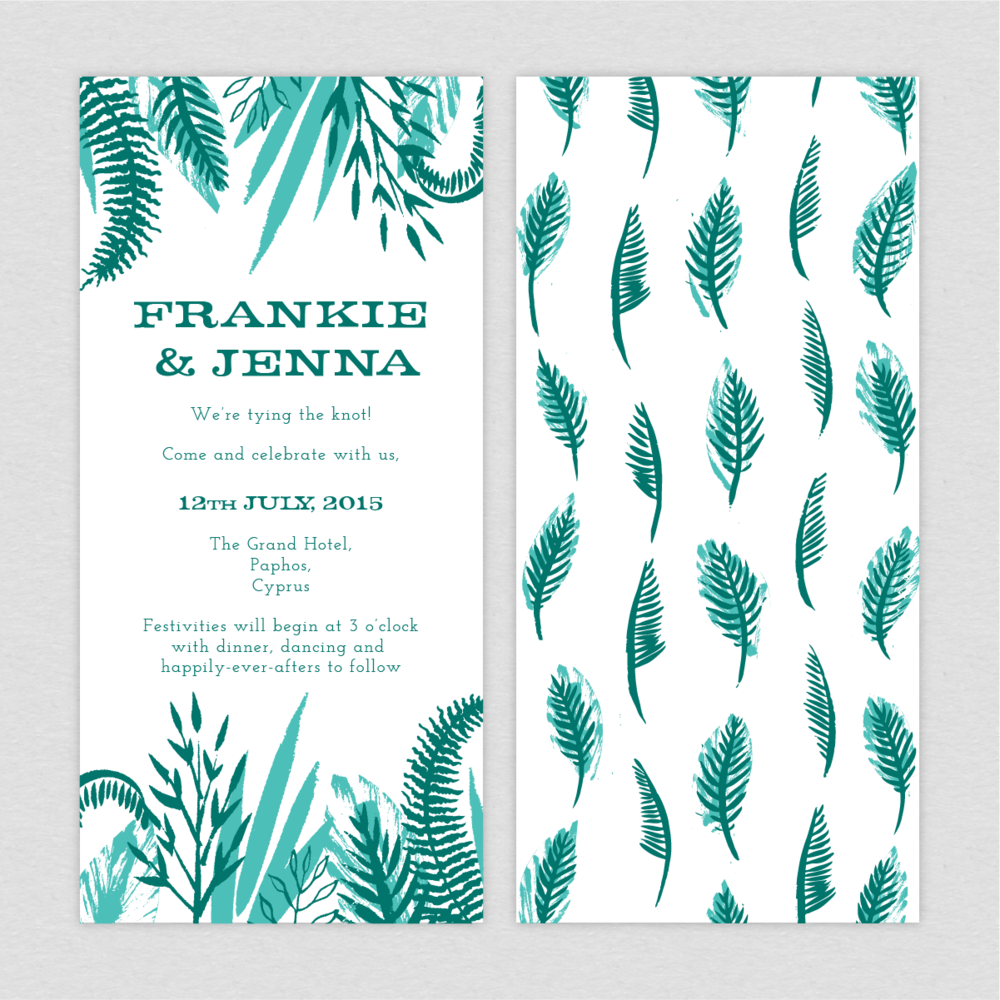 Dearly Beloved Tropical Wedding Invitation
