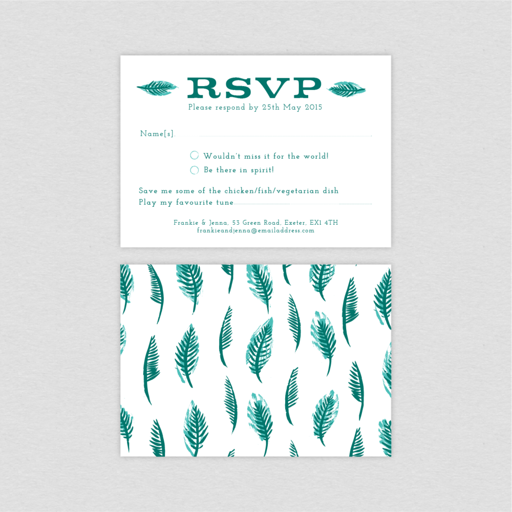 Dearly Beloved Tropical RSVP card