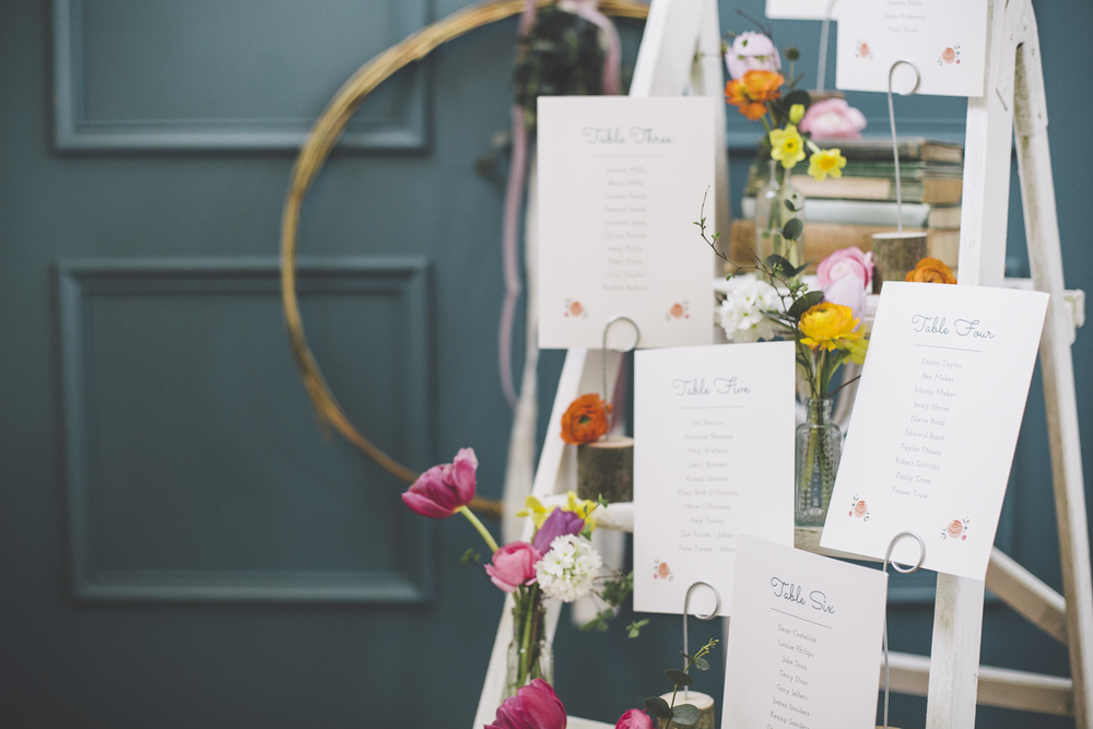 Table plan ladder by Dearly Beloved. Photo by Grace Elizabeth Photography