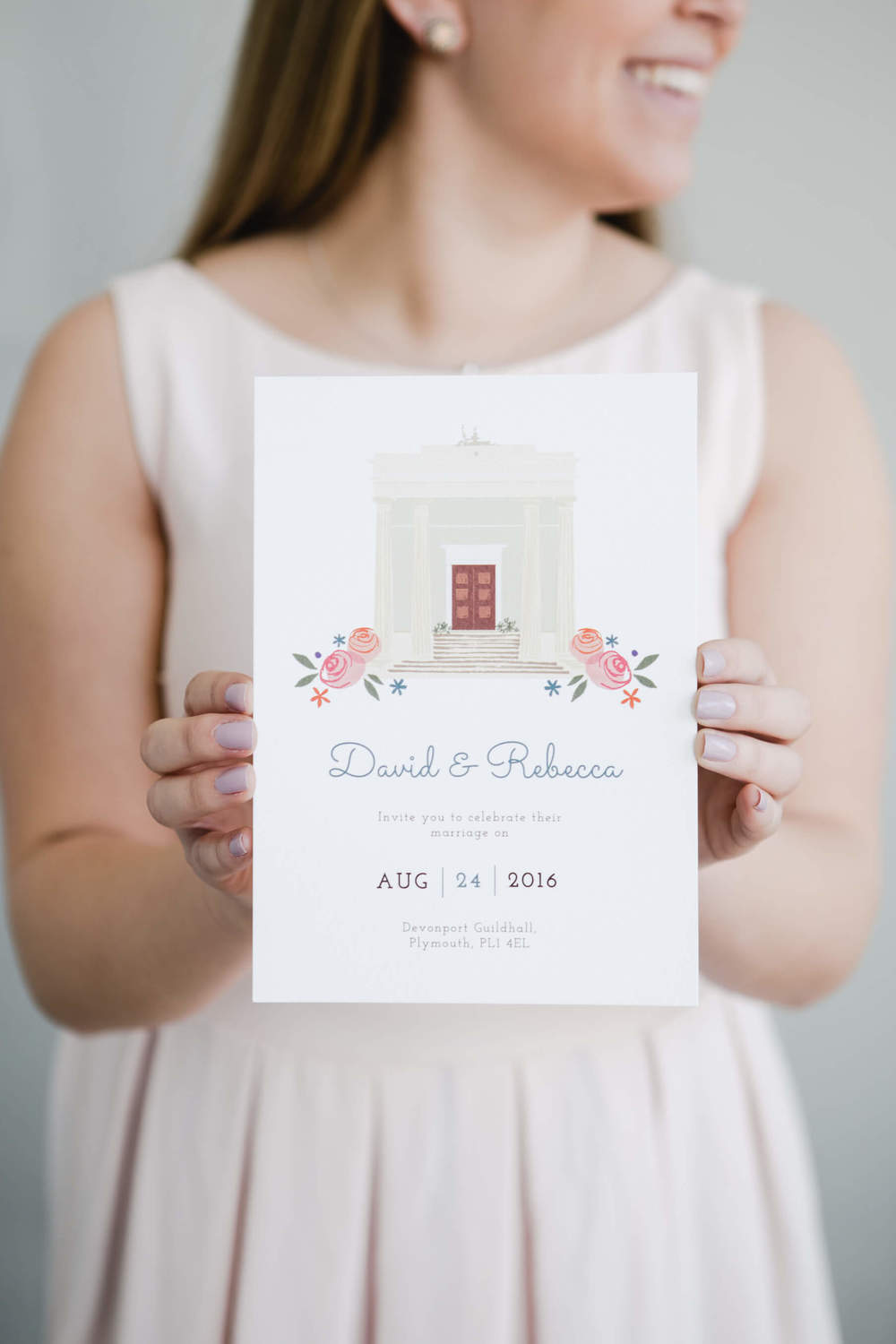 Dearly Beloved wedding invite. Photo by UpArt Photography
