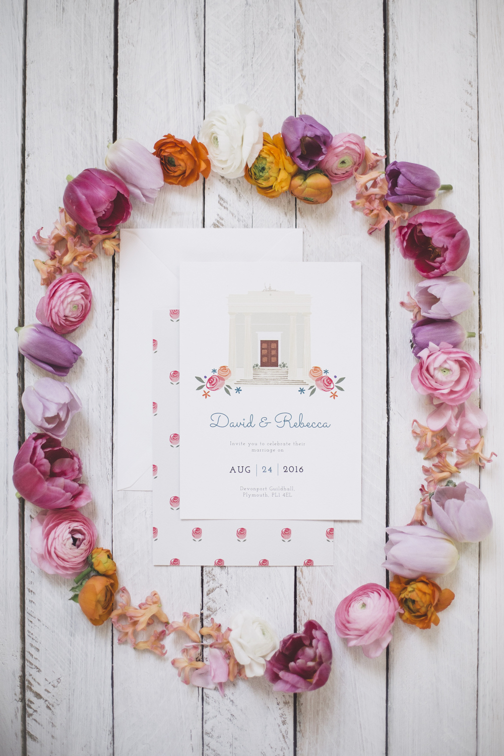 Custom invitation for Devonport Guildhall. Photo by Grace Elizabeth Photography
