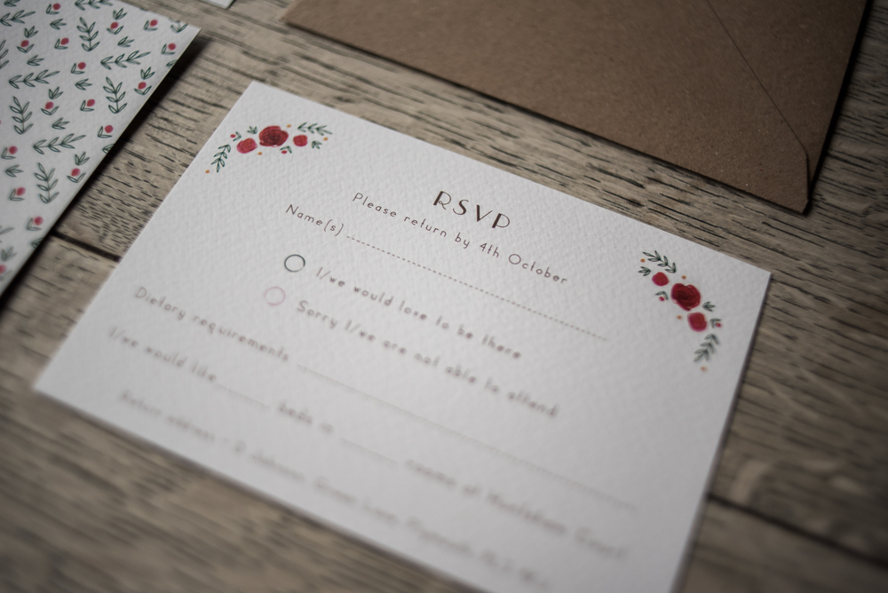 Country Love RSVP card. Photo by Liberty Pearl Photography