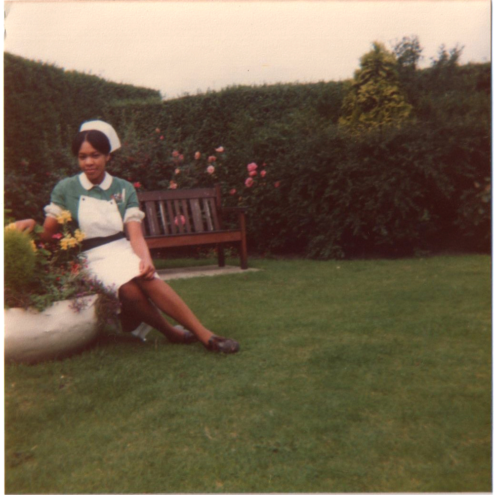 "The original photograph we swiped from the McKenzie family album, Mrs McKenzie *cough* a few decades ago :) , ""Classic Pam"", in the garden showing off her latest uniform"
