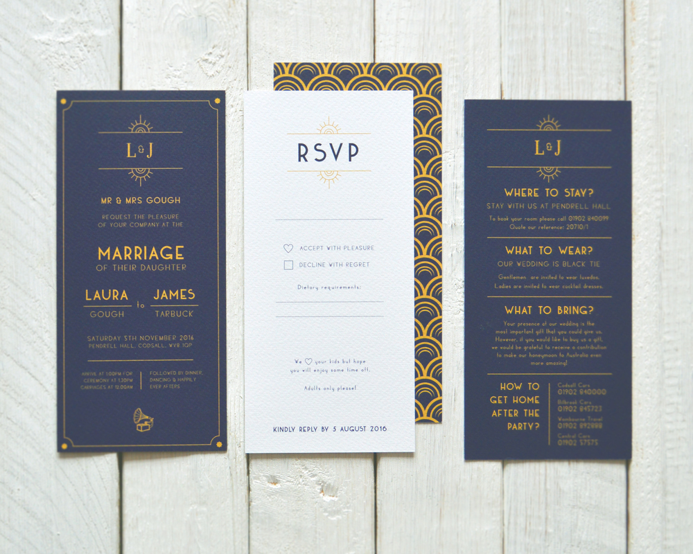 The suite includes wedding invitations, post card style RSVPs and a card with helpful information for their guests such as dress code, taxi numbers and where to stay after the party!